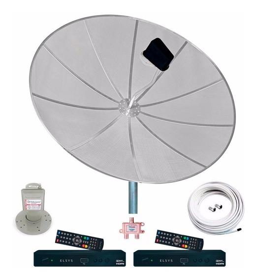 Antena Parabólica Completa 190cm 2 Receptor Duomax Hd Elsys