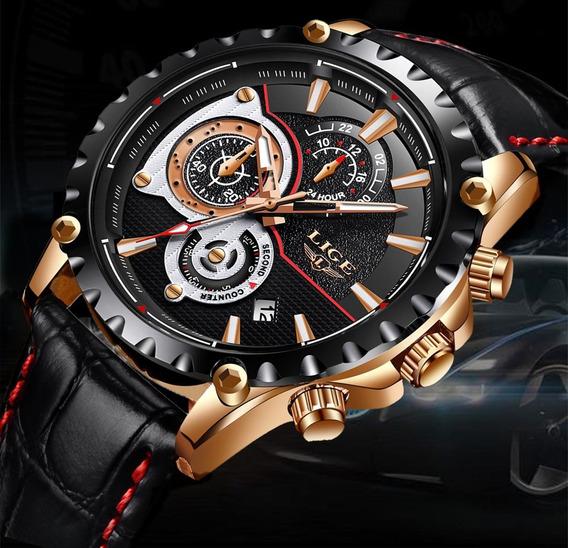Relógio Masculino Lige 9842 Original 100% Funcional Couro