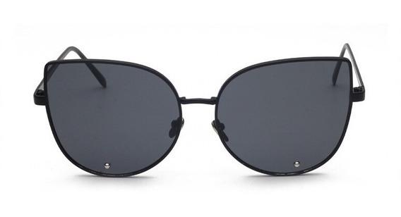 Óculos Sol Grande Brinde Oversize Vintage Blog Preto