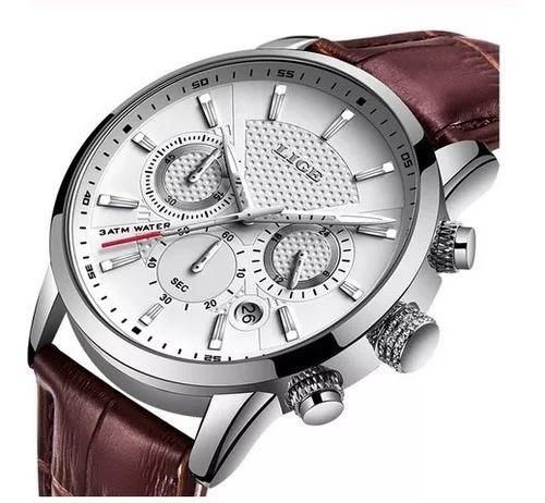 Relógio Lige Masculino Luxo Marrom+prateado+branco(original)