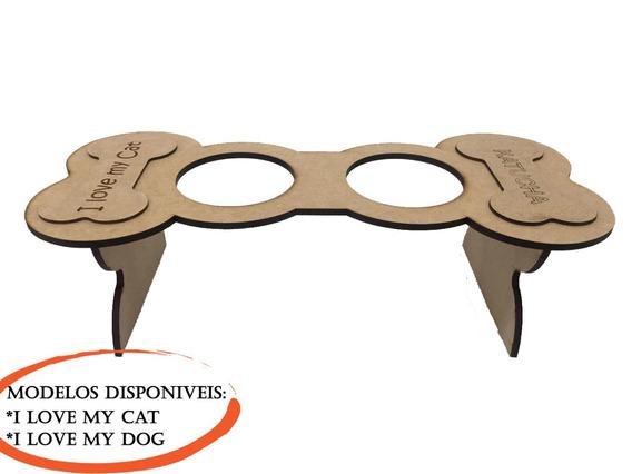 Suporte Comedouro Cães E Gatos Mdf 2 Tigelas Plastico 1002