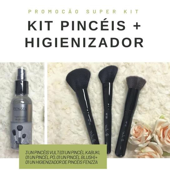 Kit Pincéis Vult 3un + Limpador De Pincéis Fenzza Com Frete Grátis + Brinde