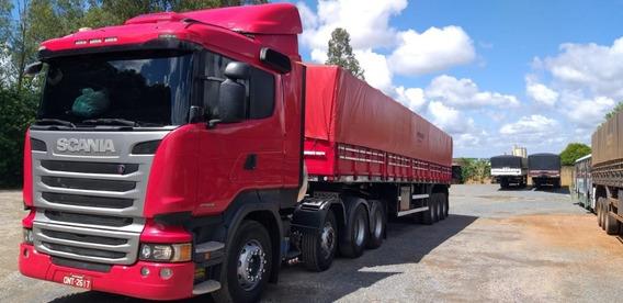 Conjunto Scania R 440 8x2 E Carreta Randon Graneleira 13/14