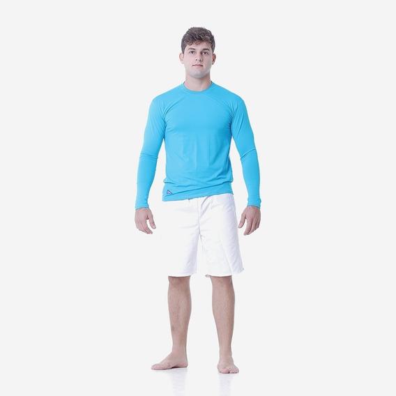 Camisa Masculina Via Sol Proteção Solar Azul Claro