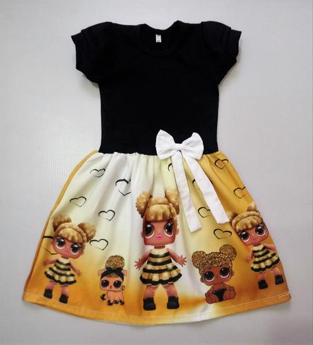 Vestido Infantil Boneca Lol Queen Bee Manga Curta Fantasia Mercado Livre