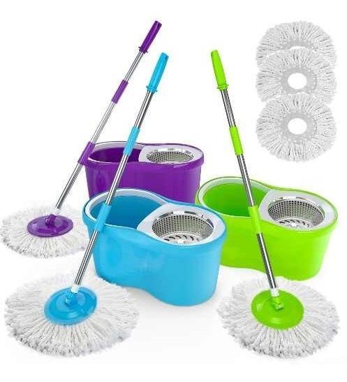 Balde Spin Mop Giratório Cesto Inox Cozinha, Banheiro