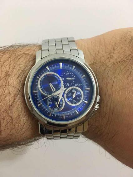 Relógio Casio Mtf301 Pulseira Em Inox E Mostrador Azul