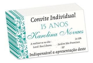 Kit 150 Convites Individual 15 Anos Tiffany 5x3 Cm
