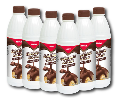 Kit Cobertura Sobremesa Chocolate Marvi - 6x1,3kg