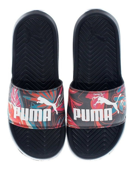 Chinelas Puma Pop Cat Flower Power Neg De Mujer