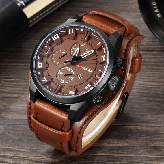 Relógio Curren 8225 Original De Luxo Bracelete De Couro Novo