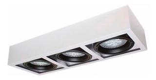 Plafon Techo Moderno Rectangular Ar111 3 Luces Gu10 Apto Led