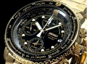 232ba48f0 Seiko Sna414p1 Flightmaster cronograph / Aviador - Dourado