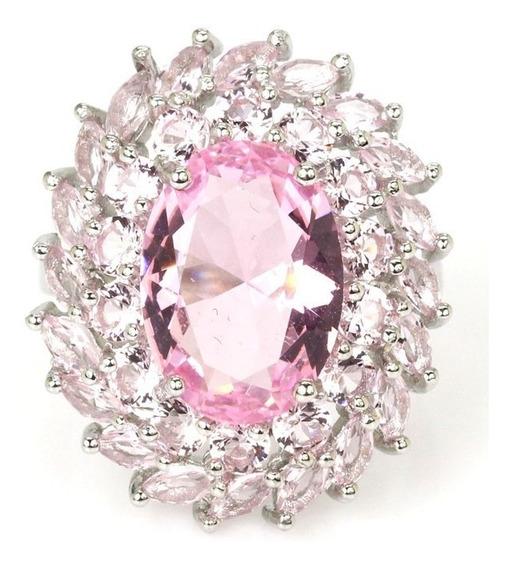 Anel Feminino Grande Luxo Solitário Zirconia Rosa