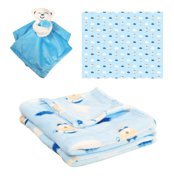 Kit Enxoval De Bebê 1 Manta 1 Naninha Urso Azul Barato