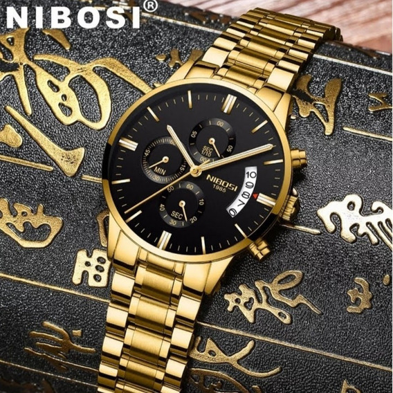 Relógio Nibosi Masculino Dourado Original
