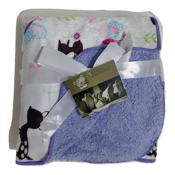 Cobertor/manta - Menina Roxa Zoo Bebê Infantil Antialérgica