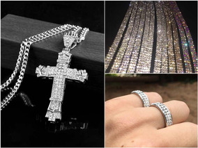 Kit Iced Out Big Cross (1x Corrente, 1x Anel, 1x Pulseira)