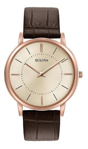 Relógio Masculino Bulova Ultraslim Rosegold/marrom 97a126