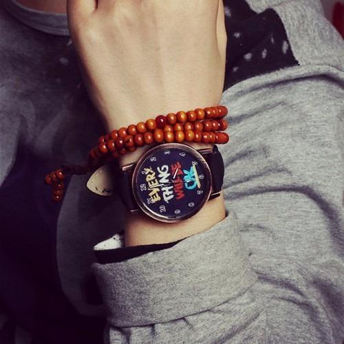 Relógio - Everything Will Be Ok Casual Moda Pulseira Preta