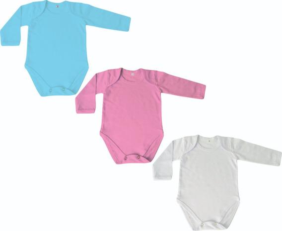 Body Borie Bebê Manga Longa- Liso- 12 Unidades- Rn Ao Gg