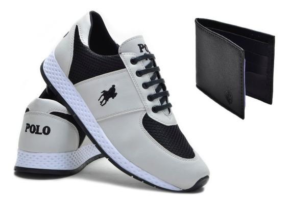 Kit Tênis Casual Jogging Polo Plus + Carteira Masculina