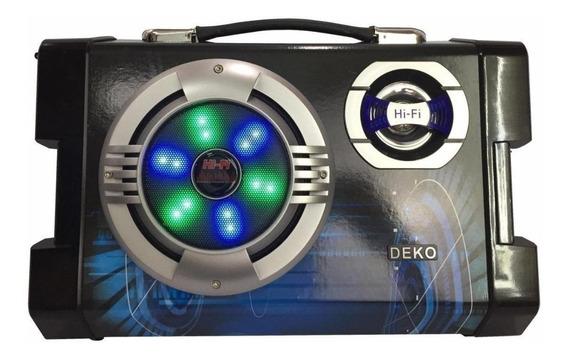 Alto-falante Deko SY-658 portátil sem fio Preto/Azul 110V/220V (Bivolt)
