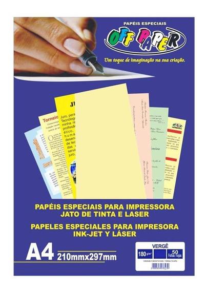 Papel Vergê A4 Palha 180g Off Paper 50 Folhas
