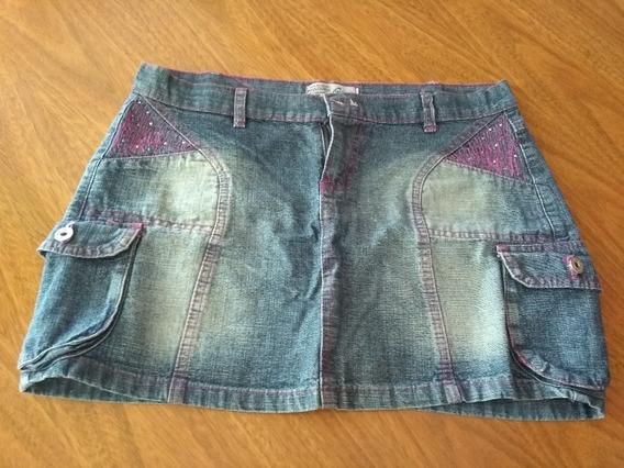 Minifalda Pollera Jean Bolsillos Divina Talle M