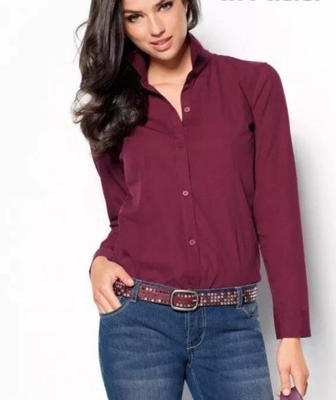 Camisa Elastizada Lisa Dama Ideal Bordar Empresas Premium !