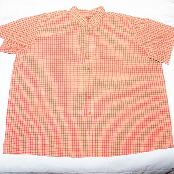 Camisa Hombre Manga Corta Roja A Cuadros 4xl
