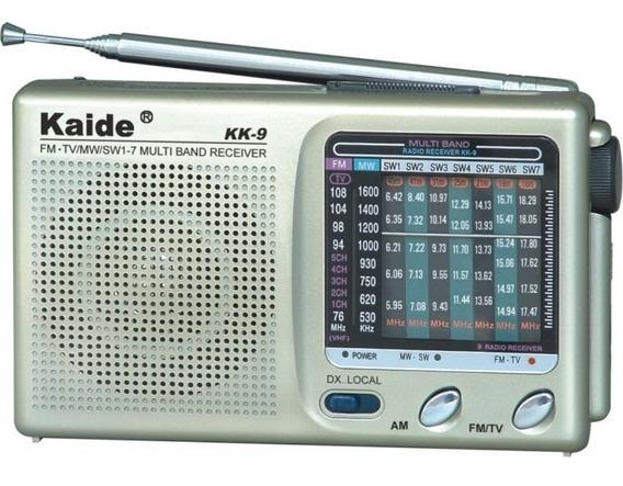 Radio Portatil Multi Bandas Som De Tv Fm Am Mw Sw 9 Faixas