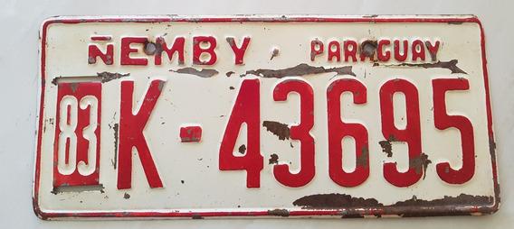Placa Carro Antiga Ferro Paraguai Ñemby K-43695