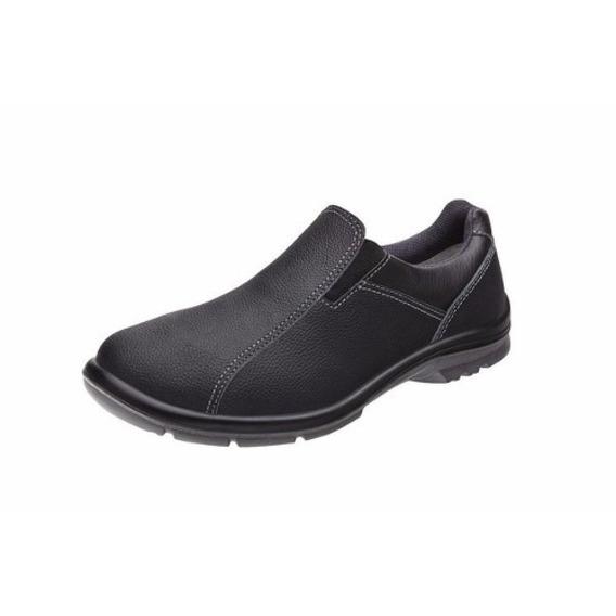 Sapato Em Couro Preto Ocupacional Elástico Unissex 50f61 ...