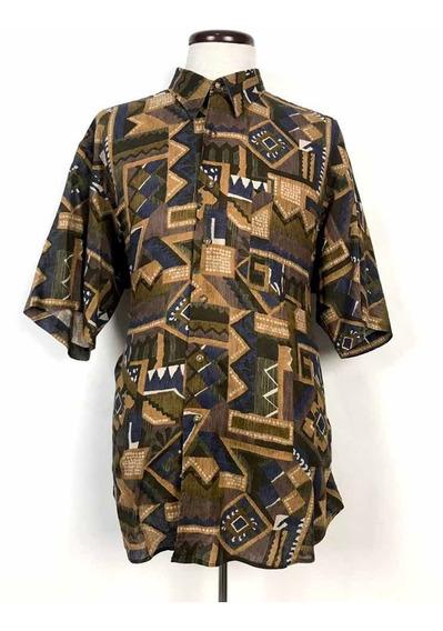 Camisa Abstracta Vintage Ike Behar Premium Quality Made Usa