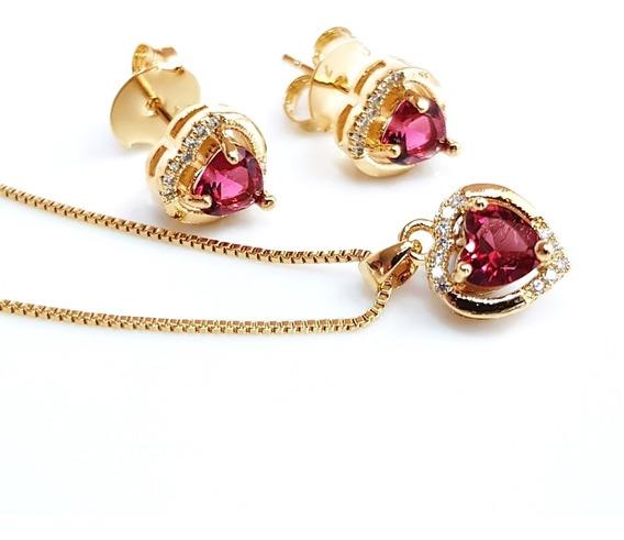 Colar Brinco Feminino Coração Cristal Vermelho Banhado Ouro