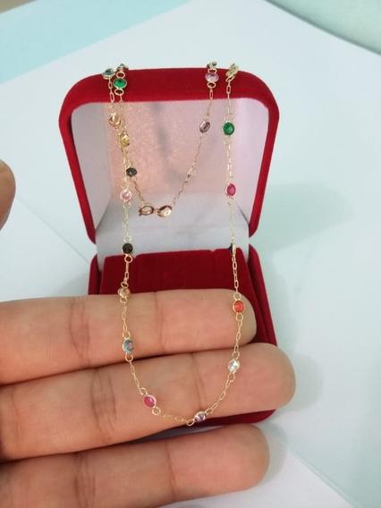 Kit Colar E Pulseira Em Ouro 18k 750 Pedras Coloridas Brinde