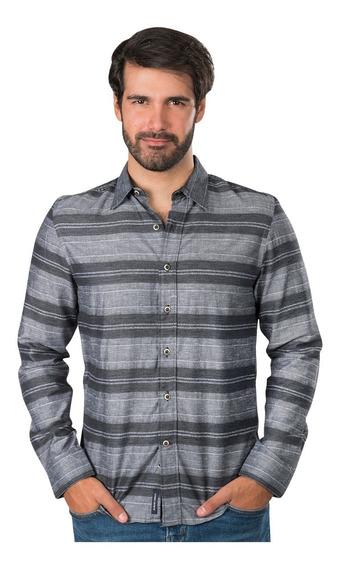 Camisas Hombre Casual Moda Slim Fit Rayas Algodon