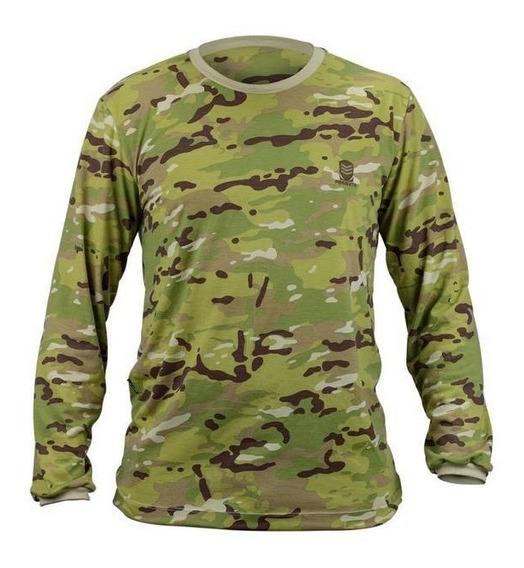 Camiseta Camuflada Manga Longa Pesca Caça Militar Exercito