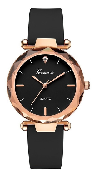 Relógio De Pulso Feminino Geneva Preto Com Rose Luxo Pequeno