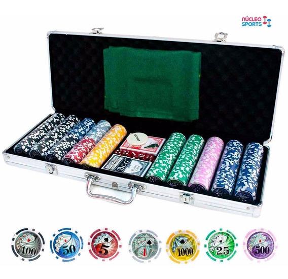 Maleta Poker 500 Fichas Holográficas Com Numeração Alça