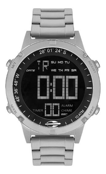 Relógio Mormaii Masculino Mow13901/1p Negativo Digital Prata