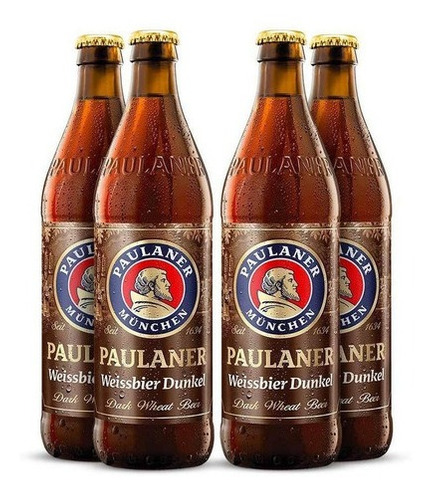 Imagem 1 de 2 de 4x Cerveja Alemã Paulaner Weissbier Dunkel 500ml