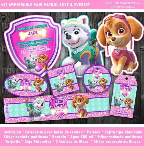 Kit Paw Patrol Niñas Skye Everest Invitación Candy Fiesta