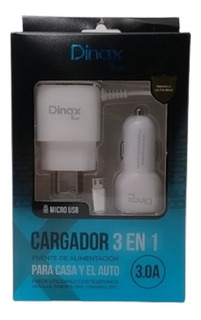 Cargador 3 En 1 Dinax De Pared Y De Auto 3 Amp 2 Puertos Usb