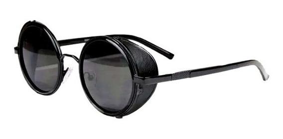 Óculos De Sol Redondo Vintage Preto Steampunk