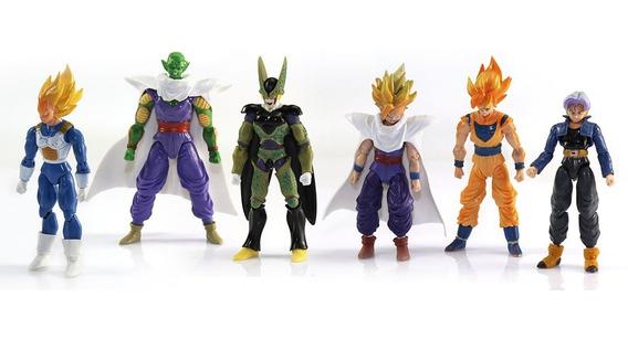 6pcs Brinquedo Anime Dragon Ball Z Figura Ação Goku Piccolo
