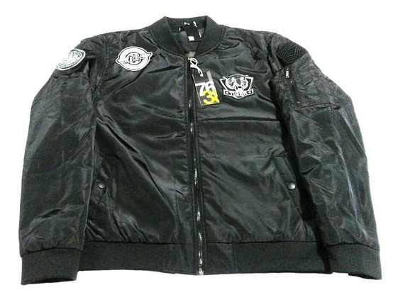 Campera Bomber Aviadora Parches Hombre Negro The Dark King
