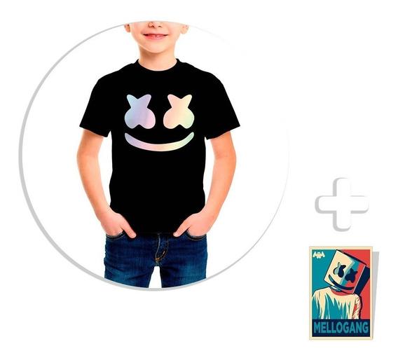 Envío Gratis Playera Niño Marshmello Tornasol + Sticker