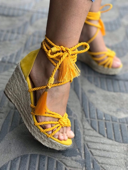 Sandália De Salto Baixo Anabela Feminina Amarração Na Perna